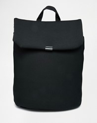 Asos Backpack In Scuba With Fold Over Black