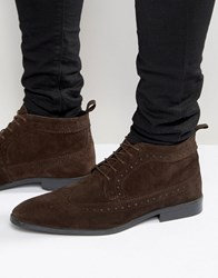 Asos Brogue Chukka Boots In Brown Suede Brown