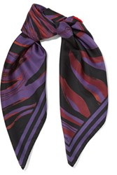Roberto Cavalli Printed Silk Satin Twill Scarf Purple