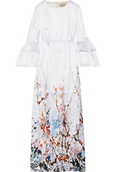 Merchant Archive Printed Satin Gown Ivory