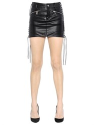 Dsquared Lace Up Nappa Leather Mini Skirt