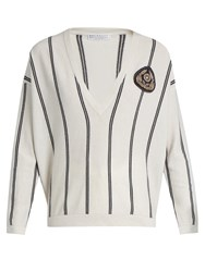 Brunello Cucinelli V Neck Striped Cashmere Sweater Cream