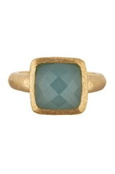 Rivka Friedman 18K Gold Clad Faceted Caribbean Blue Quartzite Cabochon Ring