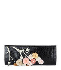 Nancy Gonzalez Cherry Blossom Crocodile Razor Clutch Bag Female Multi