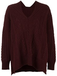 Mame Cable Knit Jumper Pink And Purple