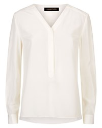 Jaeger Silk Pleated V Neck Blouse Neutral