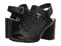 Hush Puppies Sidra Malia Black Leather Women's Wedge Shoes
