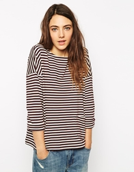 People Tree Organic Cotton Stripe Top With Pocket Detail Bordeaux