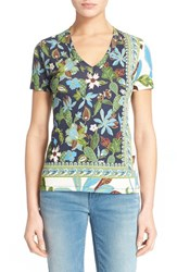 Women's Tory Burch V Neck Paisley Print Cotton Tee