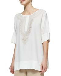 Go Silk Embroidered Silk Tunic Ivory Sesame