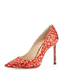 Jimmy Choo Romy Floral Print 100Mm Pump Red Pattern Red Patterned