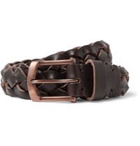 Oliver Spencer 3Cm Brown Woven Leather Belt Dark Brown