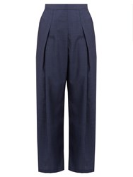 Rachel Comey Nova Hound's Tooth Wool Wide Leg Trousers Navy