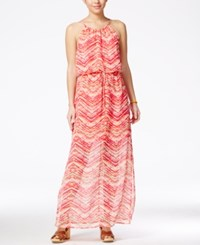 City Triangles Juniors' Chevron Print Maxi Dress Orange Combo