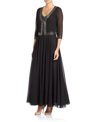 J Kara Embellished Jacket And Gown Black Metallic