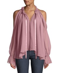 Ramy Brook Blaine Cold Shoulder Silk Ruffle Blouse Light Pink