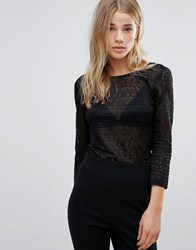 Blend She Tilly Lace Front Top Black