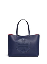 Tory Burch 'Perforated Logo' Leather Tote Blue