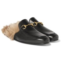 Gucci Princetown Horsebit Shearling Lined Leather Backless Loafers Black