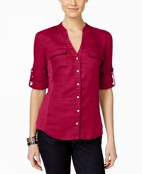 Inc International Concepts Tab Sleeve Utility Blouse Only At Macy's Real Red