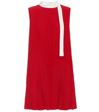 Red Valentino Pleated Crepe Minidress Red