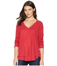 Miss Me Distressed Long Sleeve Red Clothing