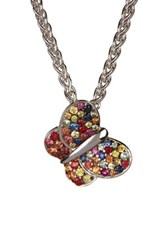 Effy Sterling Silver Pave Gemstone Butterfly Pendant Necklace Multi