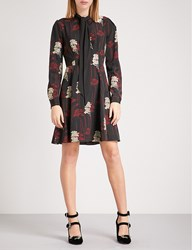 The Kooples Dark Poppy Print Shirt Dress Bla22