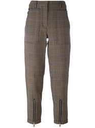 3.1 Phillip Lim Cropped Houndstooth Trousers Brown