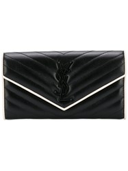 Saint Laurent Quilted Wallet Women Leather One Size Black