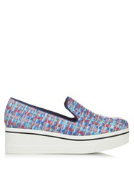Stella Mccartney Binx Woven Ribbon Flatform Loafers Blue Multi