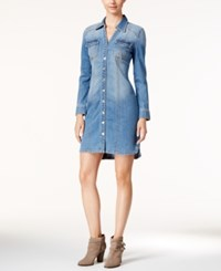 Inc International Concepts Denim Shirtdress Only At Macy's Light Indigo