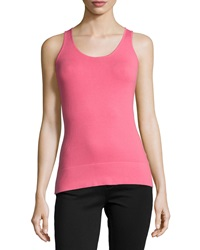 Neiman Marcus Essential Layering Scoop Neck Tank Pomegranate