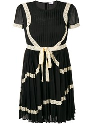 Red Valentino Lace Trim Pleated Dress Black