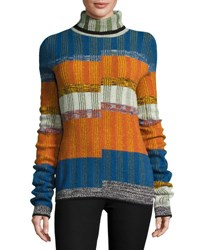 Joseph Turtleneck Split Angle Striped Sweater Orange Blue Combo