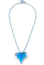 Maryam Nassir Zadeh Heart Glass And Cord Necklace Blue