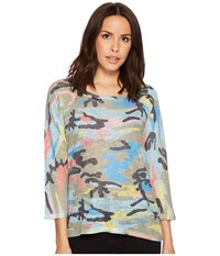 Nally And Millie Colorful Camoflauge 3 4 Sleeve Top Multi Clothing