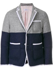 Thom Browne Quilted Down Filled Bicolor Sport Coat Grey