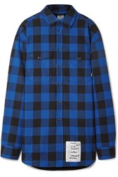 Vetements Oversized Checked Cotton Flannel Shirt Blue Gbp