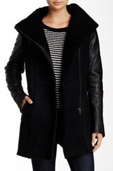 Muubaa Surin Genuine Shearling Leather Coat Black