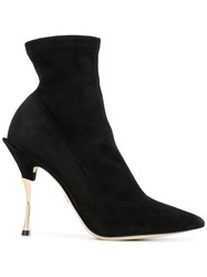 Dolce And Gabbana Pointed Ankle Boots Black