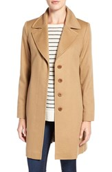 Fleurette Women's Notch Collar Lightweight Cashmere Coat Camel