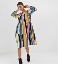 Na Kd Multi Stripe A Line Midi Dress