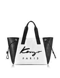Kenzo Paris Signature White Canvas And Black Perforated Eco Leather Large Tote Bag