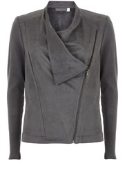 Mint Velvet Smoke Biker Cardigan Grey