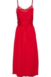 Sandro Ismere Tie Front Lace Trimmed Satin Midi Dress Red