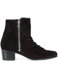 Amiri Zipped Ankle Boots Leather Suede Black