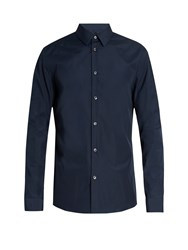 Maison Martin Margiela Button Cuff Cotton Poplin Shirt Navy