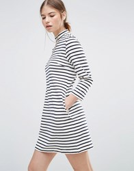 Wood Wood Striped Mary Dress Off White Navy Multi