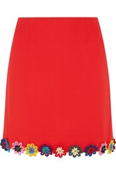 Mary Katrantzou Clovis Floral Appliqued Wool Crepe Mini Skirt Red
